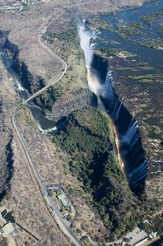 Victoria Falls on the Zambesi River forms part of the border between Zambia and Zimbabwe.