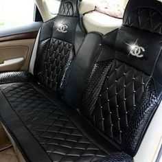 Buy Wholesale Luxury Diamond Chanel Universal Automobile Leather Car Seat Cover Cushion Sets