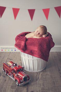 Newborn Firetruck | Floating Lights Photography | Newborn Photo Session