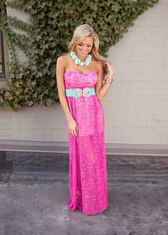 Online boutique. Best outfits. Sweet Heart Bow Back Maxi Fuchsia - Modern Vintage Boutique