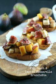 Fig, Peach and Smoked Mozzarella Bruschetta