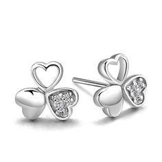 Womens 925 Sterling Silver Shamrock Inlaid Crystal Earrings -- Click on the image for additional details. Note:It is Affiliate Link to Amazon.