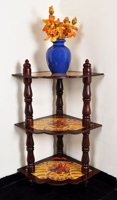 Rajasthani Art Decor Traditional Hand Painted Wood Corner Table Home Decor Multipurpose Gift 37 x 18 x 18 Inches by HouseOfHandicraft on Etsy