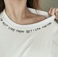 Imagen de aesthetic, grunge und quote (Coole Kunststile) – rather sad – Grunge T-shirt Broderie, Diy Vetement, Diy Mode, Diy Clothing, Clothing Labels, Diy Fashion, Trendy Fashion, Fashion Ideas, Fashion Blogs
