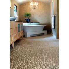 Master Bath Shower Floor- Solistone River Rock Brookstone 12 in. x mm Natural Stone Pebble Mosaic Floor and Wall Tile sq. - The Home Depot Modern Floor Tiles, Bathroom Floor Tiles, Wall Tile, Tile Floor, Mosaic Bathroom, Bathroom Bath, Bath Shower, River Rock Floor, River Rocks