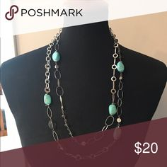 W.A. Long wrap necklace Silver turquoise and black beaded log necklace. W.A. Markings Jewelry Necklaces