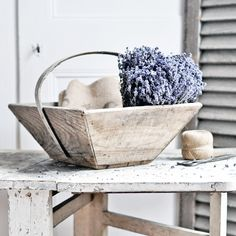 Image of Rustic French Vintage Wooden Box with Handle