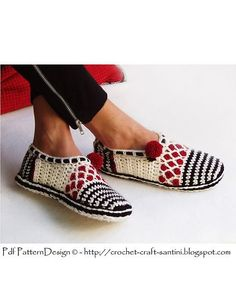 Crochet slippers with crochet-sole attached.
