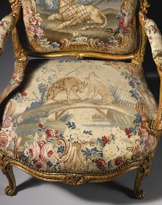 A rare pair of Louis XV carved giltwood fauteuils (detail) attributed to Jacques-Jean-Baptiste Tilliard circa 1765