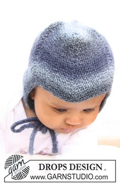 """I am COMPLETELY in love with most of the DROPS patterns I'm coming across.   I wish I'd discovered these 2 years ago. So much cuteness!  ______________________________  Knitted DROPS hat in garter st and socks in """"Delight"""". ~ DROPS Design"""