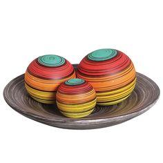 Jogo Esferas Coloridas Decorativa. Ideal para deixar sua decoração com muito mais brilho e cheio de vida.