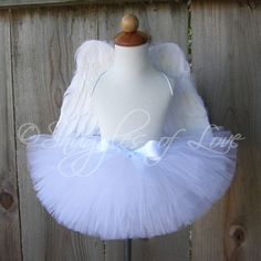 Angel Tutu Costume - Snow White Tutu and Feather Angel Wings - Halloween Costume - CUSTOM MADE - Sizes 12-24mos or 3T-4T. $49.00, via Etsy.