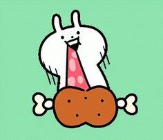 The perfect Usagyuuun Usagyuuun_sticker Chicken Animated GIF for your conversation. Neko Atsume Wallpaper, Icon Gif, Cute Gif, Emoticon, Mochi, Aries, Animated Gif, Minimal, Cute Animals