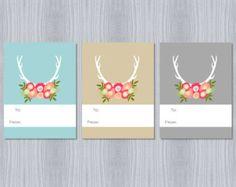 Antler Floral Print | Antler Floral Trio Gift Tags