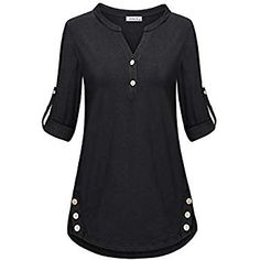 Amazing offer on MOQIVGI Women's Cuffed Sleeve Henley Shirts Fashion Casual V Neck Tunic Tops online - Outfit Center Casual Skirt Outfits, Mode Outfits, Office Outfits, Outfits 2016, Look Fashion, Fashion Models, Womens Fashion, Fashion 2018, Fashion Online