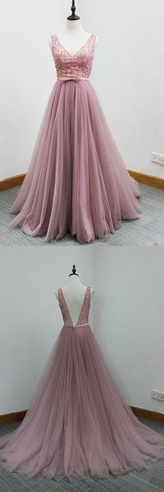Pink tulle V-neck long dress,beading sequins open back graduation dresses