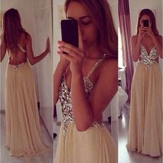 Long prom dress,champagne backless prom dresses open backs simple 2016 beaded a line with straps glitter prom dress,xp124