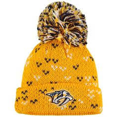 Nashville Predators adidas Women s Jacquard Cuffed Pom Knit Beanie – Gold 6bfd2cccb159
