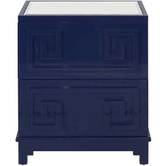 Worlds Away Two Drawer Navy Lacquer Pagoda Side Table By ($1,288) ❤ liked on Polyvore featuring home, furniture, tables, accent tables, dressers, navy side table, lacquer side table, dark blue furniture, navy furniture and lacquer table