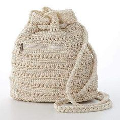 Carry It All with 10 Free Crochet Tote Bag Patterns ! Crochet Backpack, Crochet Tote, Crochet Handbags, Crochet Purses, Cute Crochet, Crochet Stitches, Drawstring Backpack, Backpack Pattern, Knitting Patterns