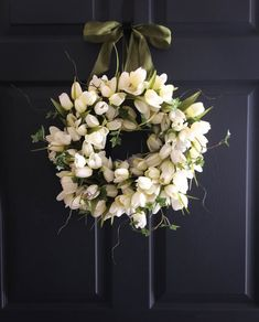 White Tulips with Ivy Wreath: a gorgeous wreath arrangement as a Spring Front Door Wreath, Wedding Wreath Decoration. Also makes a wonderful
