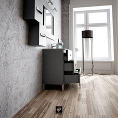 Así se ve desde el lateral el mueble de baño modelo GARONA de TORVISCO GROUP. Mueble de 100 cms con fondo de 45cms con tres cajones y acabado en gris mate.