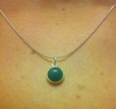 Sterling Silver Green Quartz Charm Necklace by OneSEC on Etsy, $8.00