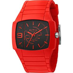 Diesel Watches Men's Bright Red Color Domination Analog Black Dial Watch
