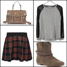 Dona #bag @shopmisako ~~ Bootie #creeks @Merkalcalzados ~~ #kaffe #sweatshirt @zalandoes ~~ Short plaided #skirt #ONLY @buylevard ~~.
