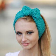 Teal Blue Big Bow Knit Headband Aqua large Bow by OtiliaBoutique, $22.50
