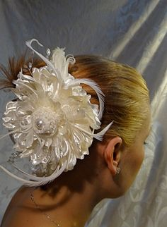 Ivory Satin Bridal Hairpiece Pearls OOAK by Marcellefinery on Etsy, $42.00