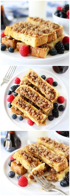Cinnamon Streusel Baked French Toast Sticks Recipe on twopeasandtheirpo... Easy to make and fun to eat!