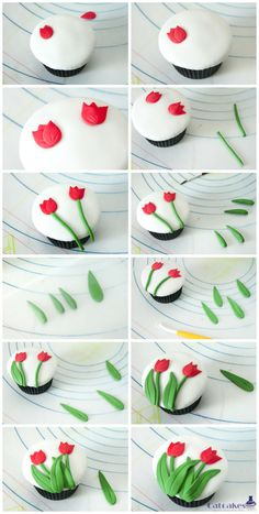 Tulipanes en ponquesitos - Tulip tutorial for cupcakes. Site has translate button.---this is a really cute cupcake and an easy looking technique. I wonder if it would translate to whole cakes. Fondant Toppers, Fondant Cupcakes, Cupcake Cookies, Cupcake Toppers, Cupcake Tutorial, Fondant Tutorial, Flower Tutorial, Deco Cupcake, Decorated Cookies
