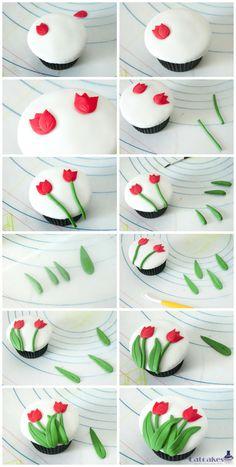 Catcakes - Cupcakes, tartas y demás dulces: Tutorial cupcakes con tulipanes