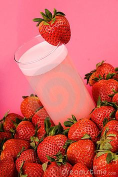 Pink strawberry health drink