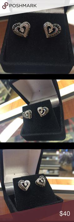 ❌❌SOLD❌❌ sterling silver heart stud earrings w/ bl Sterling Silver heart stud earrings w/ black and white diamond accents Jewelry Earrings