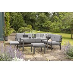 Garden Sofa Sets You'll Love | Wayfair.co.uk Rattan Corner Sofa, Corner Sofa Set, Garden Sofa Set, Garden Seating, Table Seating, Aluminium Garden Furniture, Deep Seat Cushions, Small Outdoor Spaces, Outdoor Furniture Sets