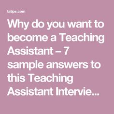 Teaching Assistant Interview Questions and Answers | Substitute ...