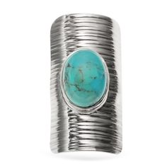 Sterling Silver .95ct 14x10mm Oval Turquoise Sheild Ring