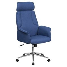 Flash Furniture High Back Executive Swivel Office Chair with Chrome Base, Blue