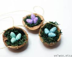 Vogel-Nest-Verzierung Weihnachtsbaum Nusthell Nussbaum Schale Mischung Farben Urlaub Dekor Paket Tie Ons Minze lila blau