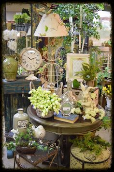 Visual Merchandising. Beautiful Retail Store Display. Greens and Neutrals. Antique Booth Displays, Antique Booth Ideas, Craft Booth Displays, Antique Mall Booth, Display Ideas, Vintage Display, Gift Shop Displays, Flea Market Displays, Shop Window Displays