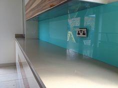 Coloured glass splashback Splashback Ideas, Coloured Glass, Kitchens, Bathtub, Bathroom, Color, Standing Bath, Washroom, Bath Tub