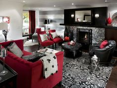 Superb Black Grey And Red Living Room Ideas