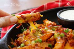 Skinny Texas Cheese Fries | Skinnytaste 8/20/2015 - Instead of bacon, I used lean ham & rotisserie chicken breast. For dipping,  I used light mayo, ketchup, Ranch dressing mix & cayenne.