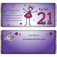 Personalised Purple Ronnie Female 21st Birthday Cholocate Bar  from Personalised Gifts Shop - ONLY £6.95