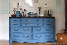 Aubusson Blue Dresser Re-do -after- artsychicksrule.com #aubussonblue #chalkpaint #diy