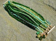 Green Gemstone Bracelet, Multi Strand Gemstone Jewelry, Multi Color Gemstone Bracelet The Persephone: Precious and Semi-Precious Green Gemstone Bracelet by TeeceTorre on Etsy Bracelet Love, Peridot Jewelry, Emerald Jewelry, Gemstone Jewelry, Diy Jewelry, Beaded Jewelry, Jewelry Bracelets, Jewelry Design, Bracelets