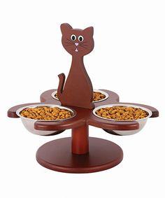 Look at this #zulilyfind! Brown Wood Multi-Cat Feeder by Etna Products #zulilyfinds