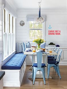 """Beach Cottage with Crisp and Fresh Coastal Interiors - """"Kitchen Nook Banquette"""" - Interior Design Fans Dining Nook, Dining Room Design, Dinning Room Ideas, Dining Bench, Nook Table, Dining Chairs, Table Bench, Dining Sets, Dining Furniture"""